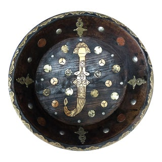 Early 20th Century Moroccan Serving Bowl - Ebony, Inlaid Bone, Silver Coins For Sale
