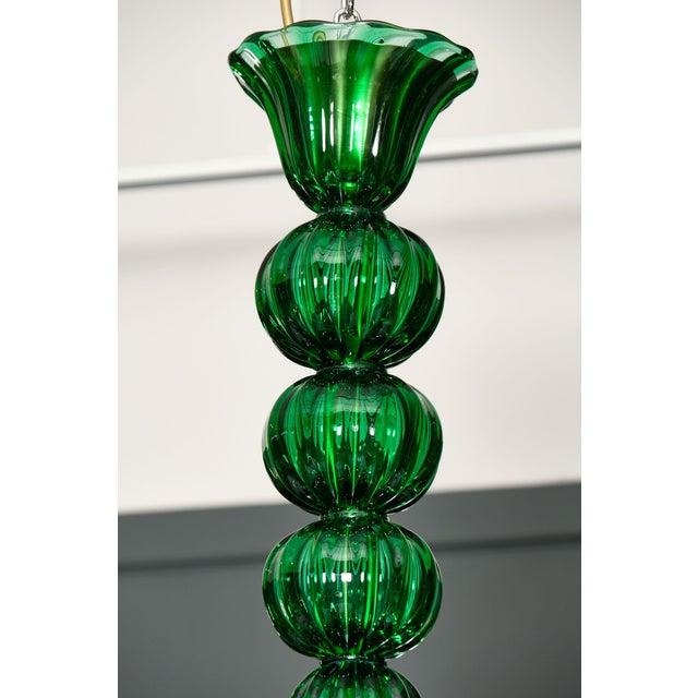 Italian Emerald Green Murano Glass Chandelier For Sale - Image 3 of 10