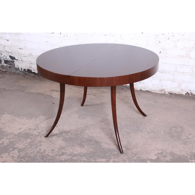 Brown Robsjohn-Gibbings for Widdicomb Mid-Century Modern Walnut Saber Leg Extension Dining Table, Newly Restored For Sale - Image 8 of 13