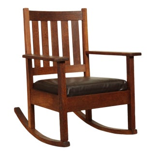 Stickley Brothers Antique Mission Oak Leather Seat Rocker For Sale