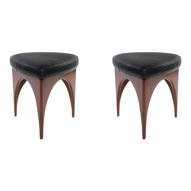 1960s Allen Ditson Wood and Leather Ottomans - a Pair For Sale