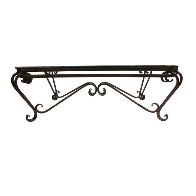 Hollywood Glam Wrought Iron and Glass Coffee Table - Image 2 of 5