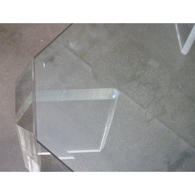 Charles Hollis Jones Lucite and Glass Square Cocktail Table by Charles Hollis Jones For Sale - Image 4 of 7