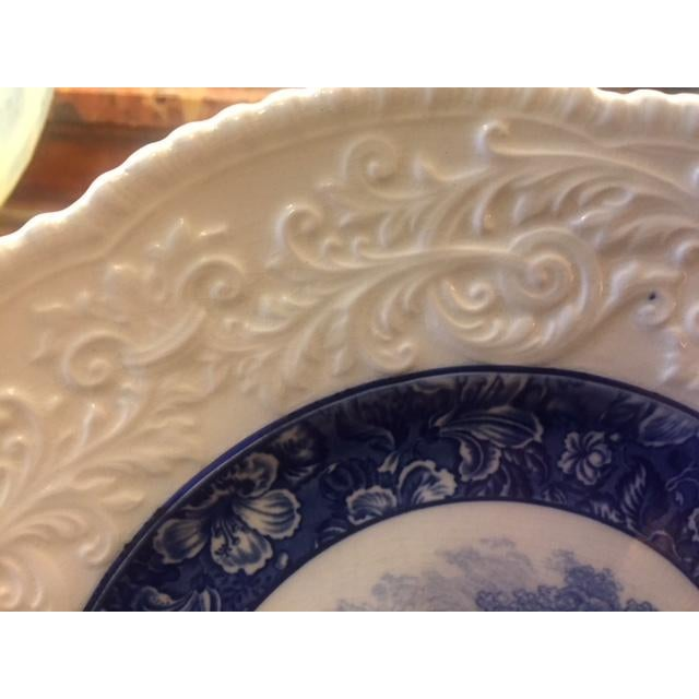 French Country Blue Transferware Charger Round Plates - Set of 12 For Sale - Image 9 of 13