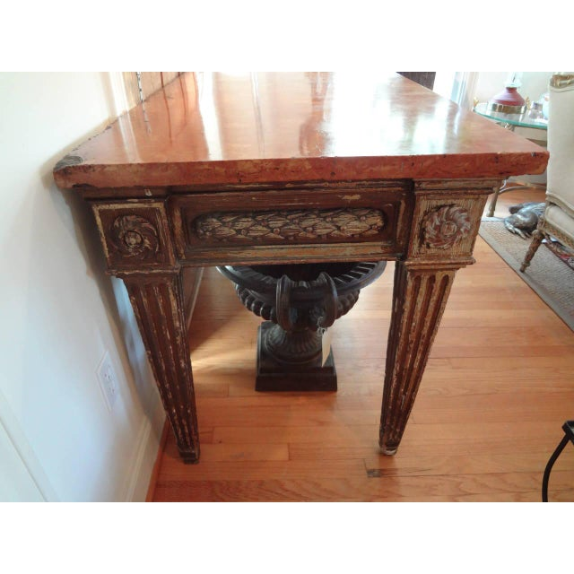 17th Century Italian Gilt Wood With Marble Top Console Table For Sale - Image 4 of 10