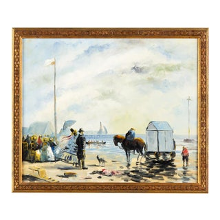 Early 20th Century Oil on Canvas Seascape by P. Denison For Sale