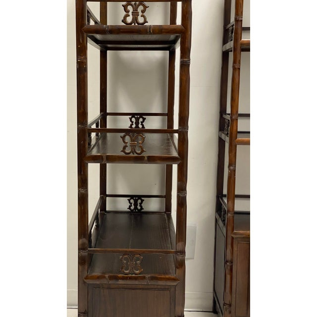 Pair of Mid-Century Asian Faux Bamboo Etageres For Sale - Image 4 of 6