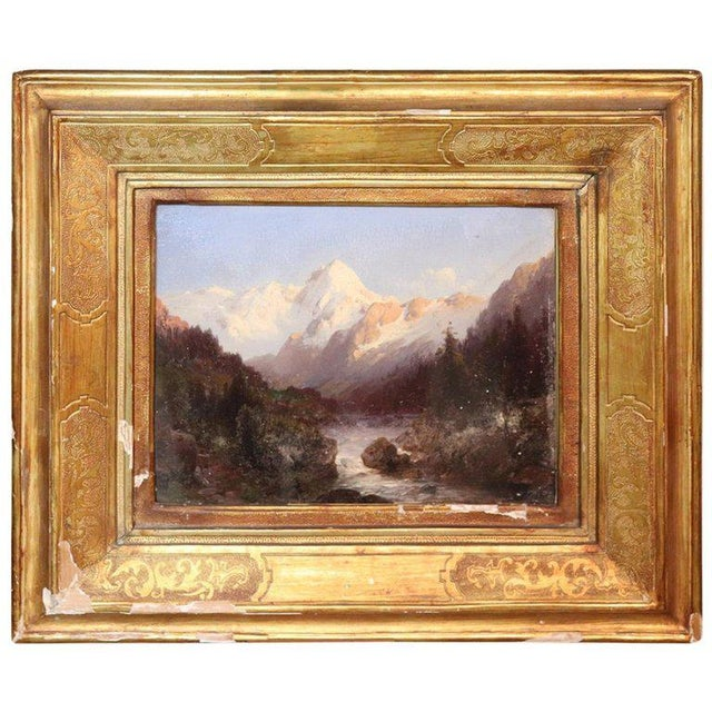 Italian Oil Painting Mountain Landscape With Golden Frame For Sale - Image 13 of 13