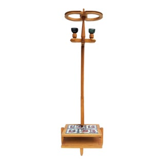 Guillerme & Chambron French Oak Floor Lamp For Sale