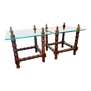 Regency Glass Top Side Tables - a Pair For Sale
