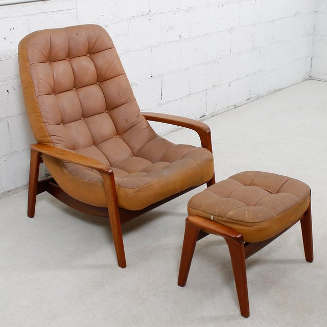 Leather Mid-Century Modern Lounge Chair & Ottoman - Image 2 of 9