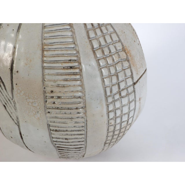 Large Heavy Art Pottery Spherical Vase For Sale - Image 4 of 9