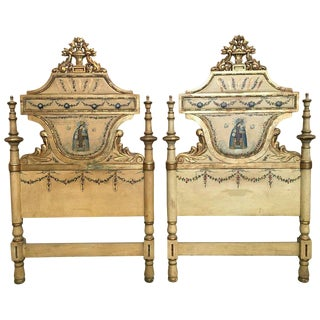 Early 19th Century Pair of Venetian Polychromed Headboards Featured Madonna For Sale
