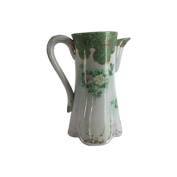 French Art Nouveau Porcelain Hand-Painted Pitcher For Sale - Image 4 of 5