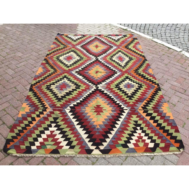 Vintage Turkish Kilim Rug For Sale - Image 10 of 10
