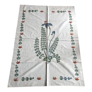 Handmade Suzani Table Runner With Flower Patterns For Sale