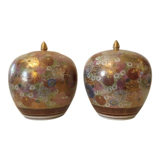 Vintage Japanese Satsuma Lidded Canisters - a Pair For Sale