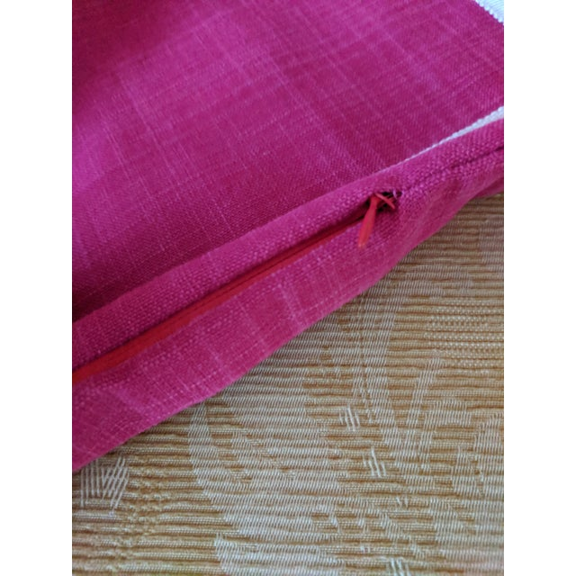 Magenta Custom Magenta Pink Linen Pillow Cover For Sale - Image 8 of 12