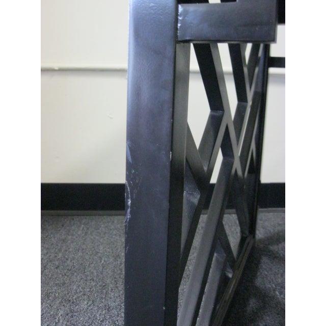 Black Dorothy Draper Kindel Square Trellis Lamp Table For Sale - Image 8 of 10