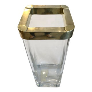 Italian Vintage Heavy Glass Vase With a Solid Brass Rim For Sale