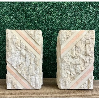Maitland Smith Tessellated Pink Marble Chiseled Travertine Pedestals-a Pair Preview