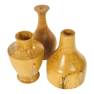 Turned Honey Maple Vessels - Set of 3