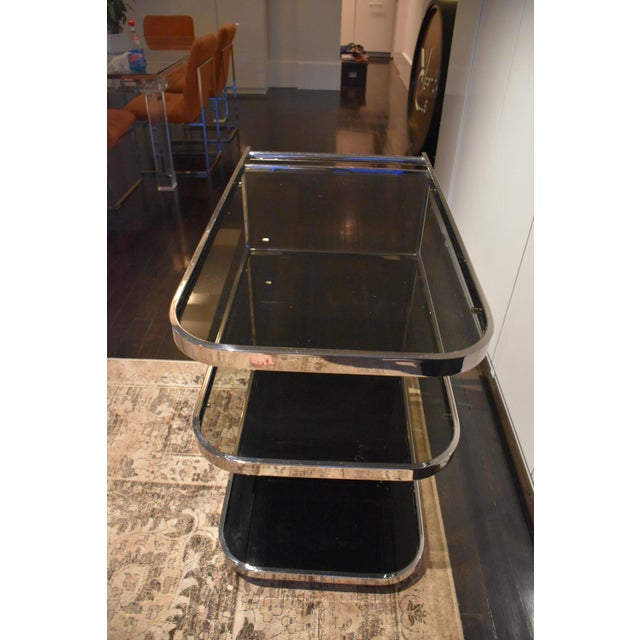 Art Deco 1970s Vintage Glass & Chrome Bar Cart For Sale - Image 3 of 6