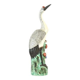 Hand Painted Chinese Crane Statue For Sale