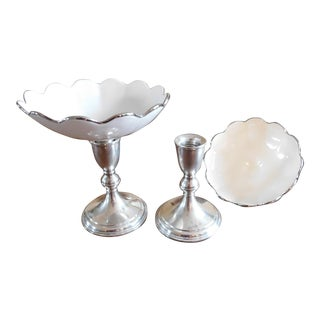 Preisner Sterling & Porcelain Mid-Century Detachable Candle Holder Pedestal Dishes - Set of 2 For Sale