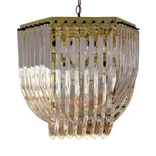 Mid Century Modern Brass & Lucite Ribbon Chandelier Light Fixture For Sale