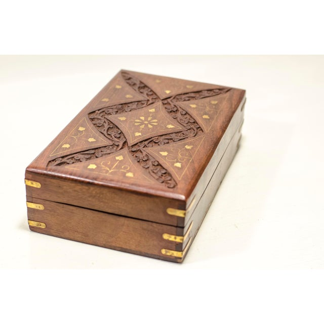 Engraved Wood Moroccan Jewelry Box - Image 2 of 7