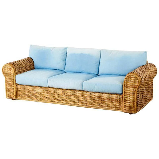 Ralph Lauren Woven Rattan Sofa With Blue Ombre Upholstery For Sale - Image 13 of 13