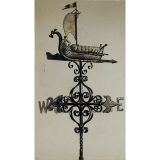 Drawing of Viking Ship Weather Vane For Sale