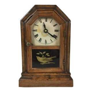 Antique Clock With Glass Painted Bird Case