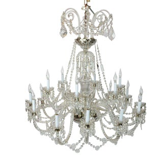 Elegant Large Eighteen-Arm Crystal Chandelier With Draping Crystal Beading For Sale