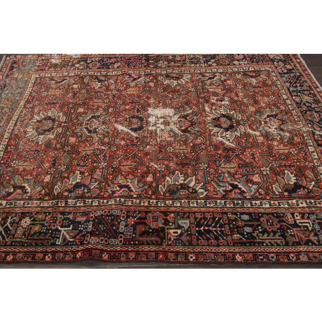 An antique Persian Heriz rug. The city of Heriz is situated in the northwest of Iran, not far from the greater city of...