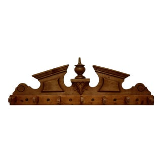 Pine and Beech Wall-Mount Hat and Coat Rack For Sale