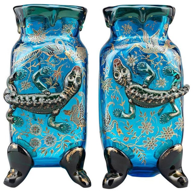 Mid 19th Century Salamander Art Glass Vases by Auguste Jean For Sale - Image 5 of 5