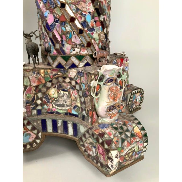 Antique 1920s Folk Art Memory Mosaic Plant Stand For Sale - Image 9 of 13