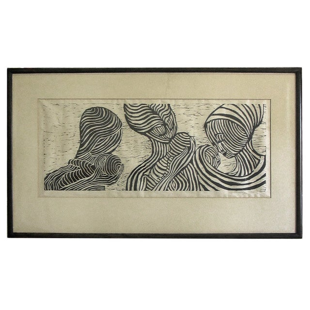 Vintage Black and White Lithograph - Image 1 of 5