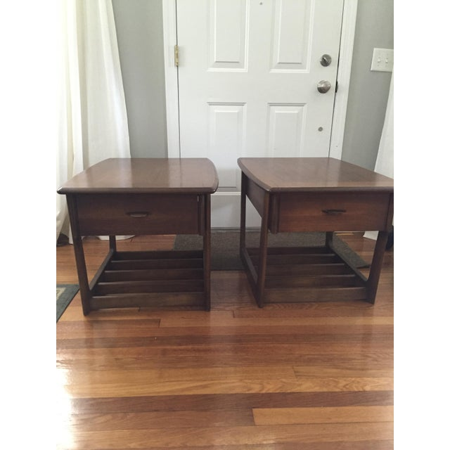 Mid-Century Modern Slat Base Side Tables - Pair - Image 3 of 7