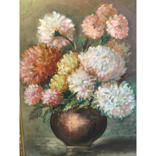 Vintage Chrysanthemums Botanical Painting For Sale - Image 4 of 5