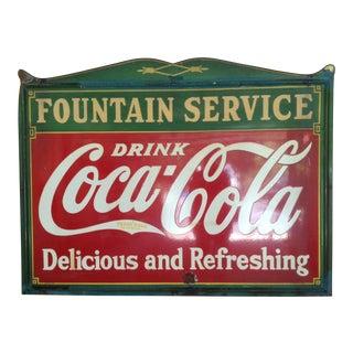 1935 Vintage Enamel on Steel Coca-Cola Store Sign For Sale