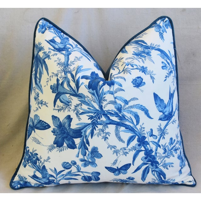 """Blue & White P. Kaufmann Aviary Bird Toile Feather/Down Pillow 24"""" Square For Sale - Image 4 of 6"""