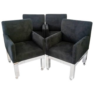 1970s Paul Evans for Directional Chrome Cityscape Chairs - Set of 4 For Sale
