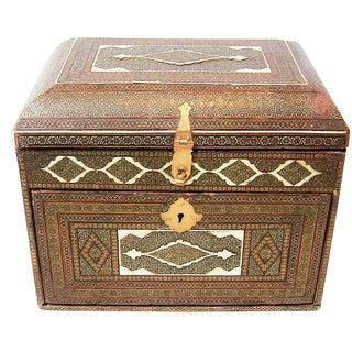 18c Indo Portugese or Persian Vargueno Mini Cabinet For Sale