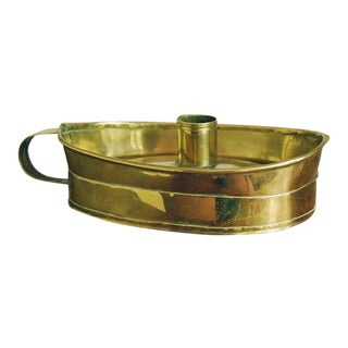 1800 Dutch Brass Chamberstick, Candle Holder For Sale