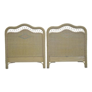 Lexington Henry Link Victorian Style Painted Wicker Twin Headboards - a Pair