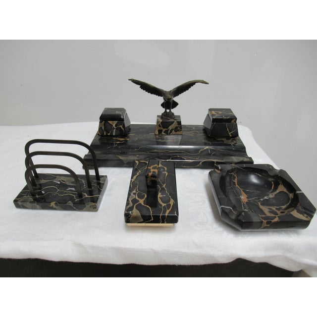 1940 S Vintage Hermann Gompertz Marble Desk Set 4 Pieces For Image 13 Of