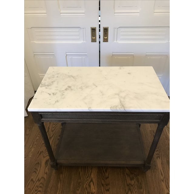 Restoration Hardware Cararra Marble Side Table - Image 2 of 7
